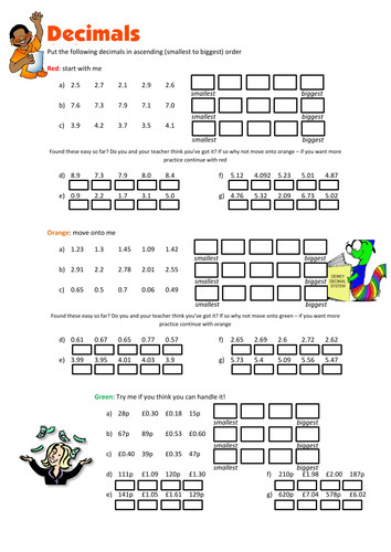 Ordering Decimals Worksheet by floppityboppit Teaching Resources Tes