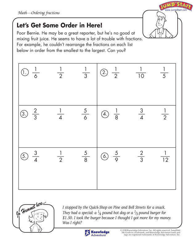pare and order fractions with the Let s Get Some Order in Here fractions worksheet for kids