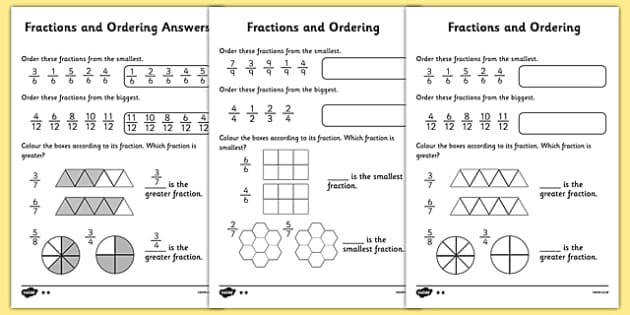 T2 M 276 Fractions and Ordering Worksheet ver 3