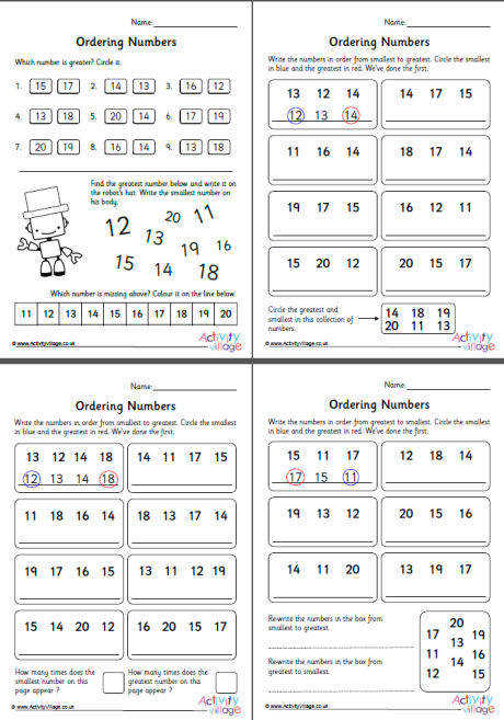 ordering numbers 11 to 20 worksheets set 1 460 2