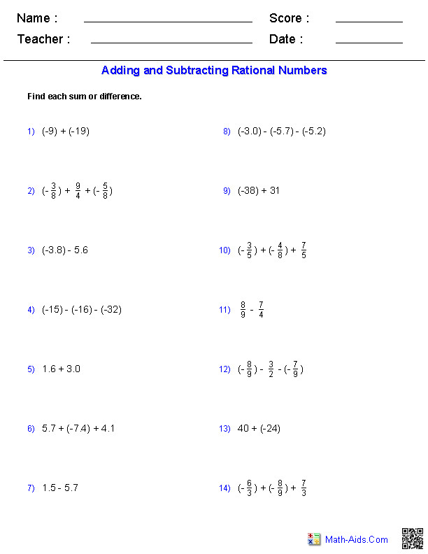 Adding and Subtracting Rational Numbers Worksheets