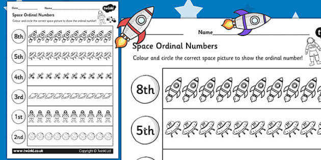 T T Space Themed Ordinal Numbers Worksheet