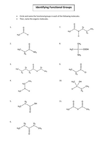 A2 Year 2 Chemistry Identifying Organic Functional Groups and Nomenclature worksheet by hf583 Teaching Resources Tes