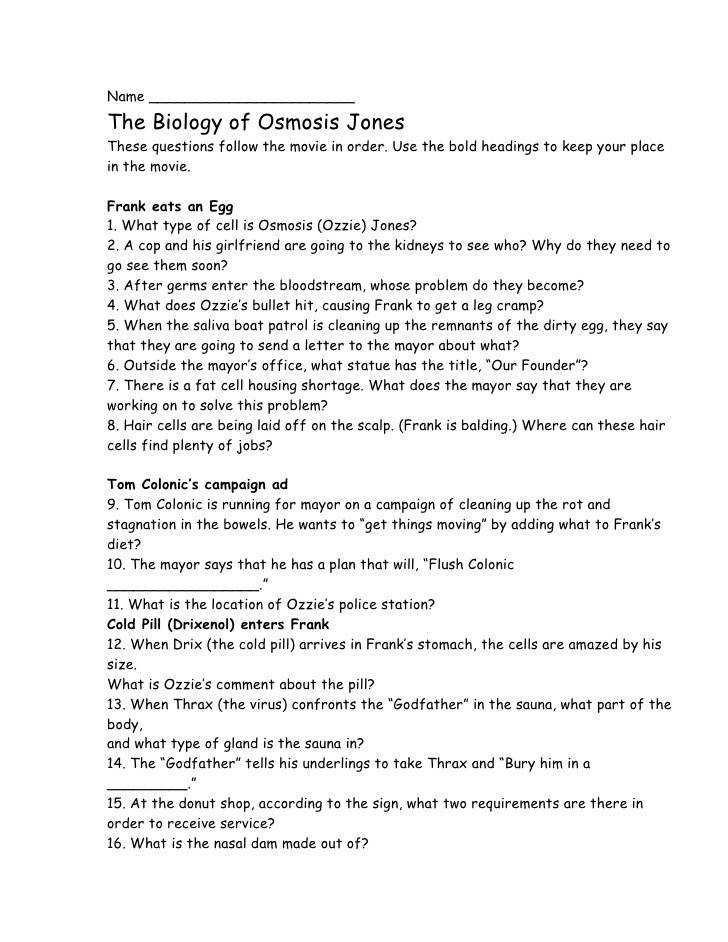 Osmosis Jones Worksheet Answers