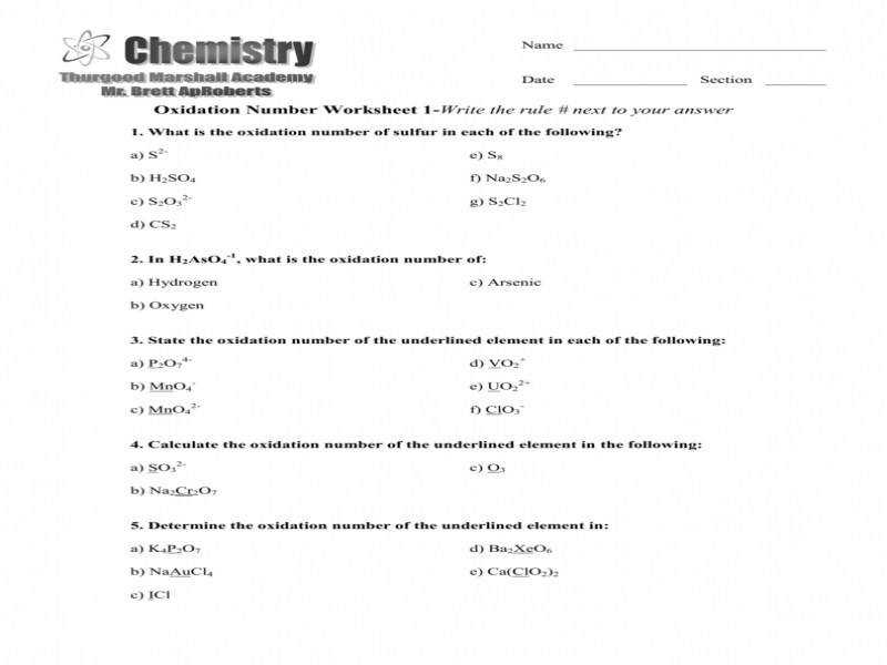 Oxidation Number Worksheet 1 Write The Rule Next To Your Answer