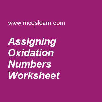 Stability · Assigning Oxidation Numbers Worksheet