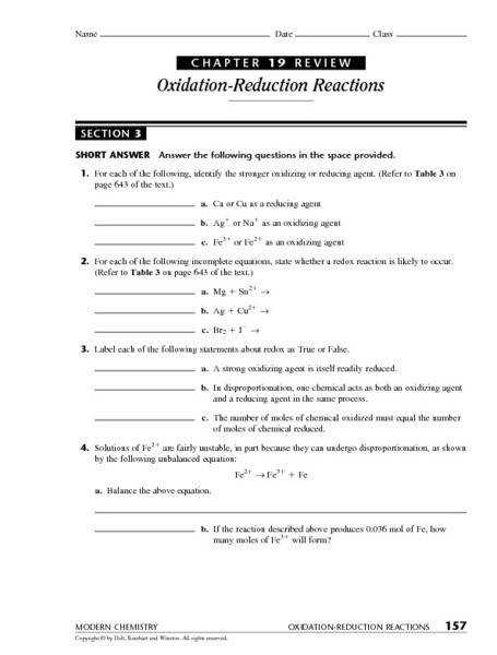Chapter 19 Review Section 3 Oxidation Reduction Reactions 9th 12th Grade Worksheet