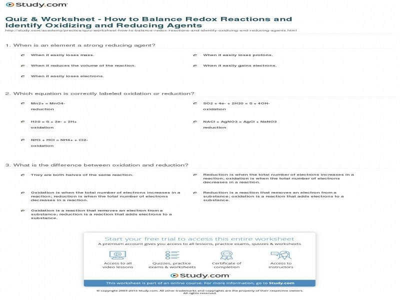 Quiz & Worksheet – How To Balance Redox Reactions And Identify