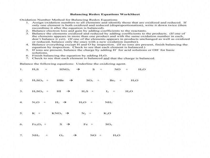 half equations worksheet with answers