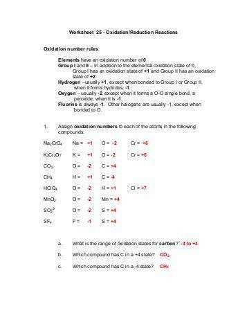 Worksheet 25 Oxidation Reduction Reactions Oxidation number