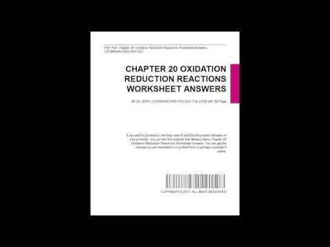 Chapter 20 Oxidation Reduction Reactions Worksheet Answers