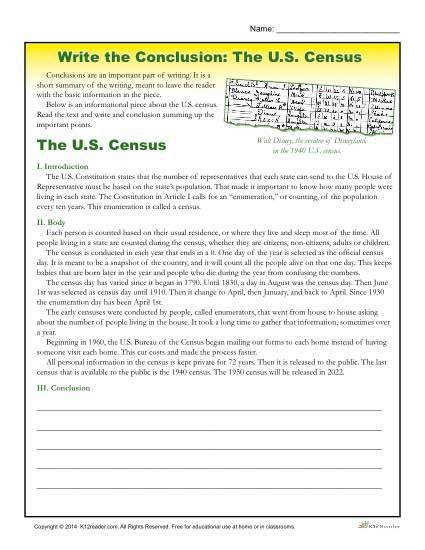 Free Printable 5th 6th and 7th grade writing activity where students practice writing conclusions