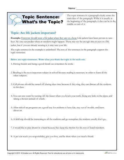 Printable Writing Worksheet Topic Sentences