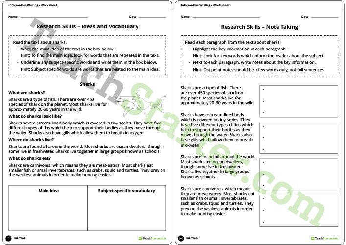 Developing informative writing skills unit plan year 3 and year research skills worksheets note taking freerunsca