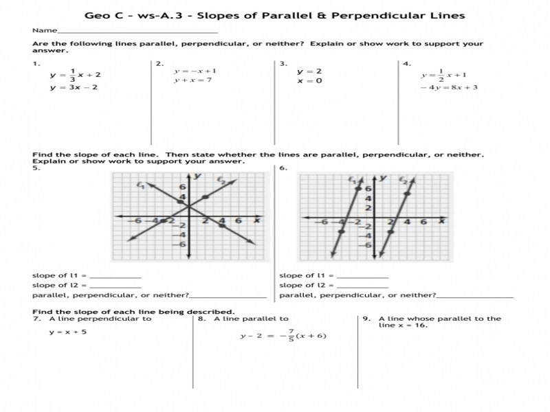 Geo C Ws A 3 Parallel And Perpendicular Lines