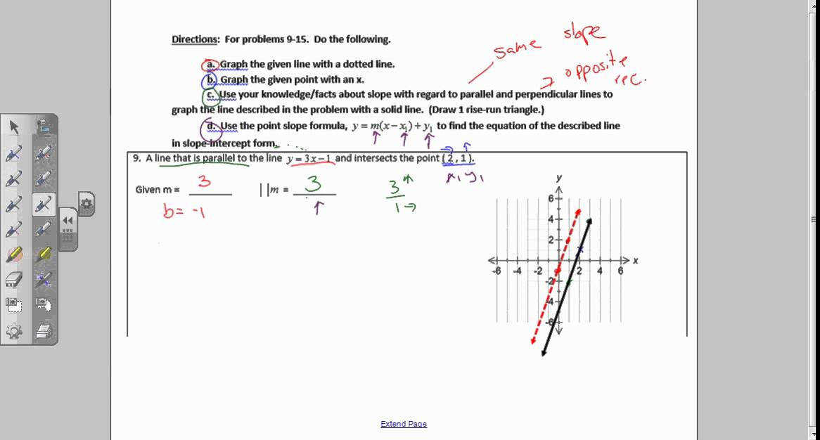 Example From Worksheet – Parallel and Perpendicular Lines 3