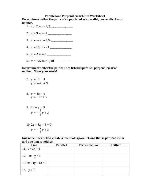 Parallel and Perpendicular Lines Worksheet Determine whether the pairs of