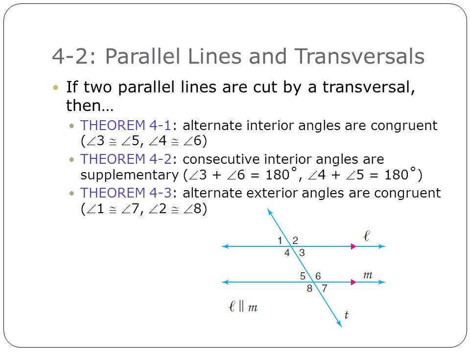 Parallel Lines And Transversals Worksheet Answers 4 2 Parallel Lines And Transversals T Ransversal A Line