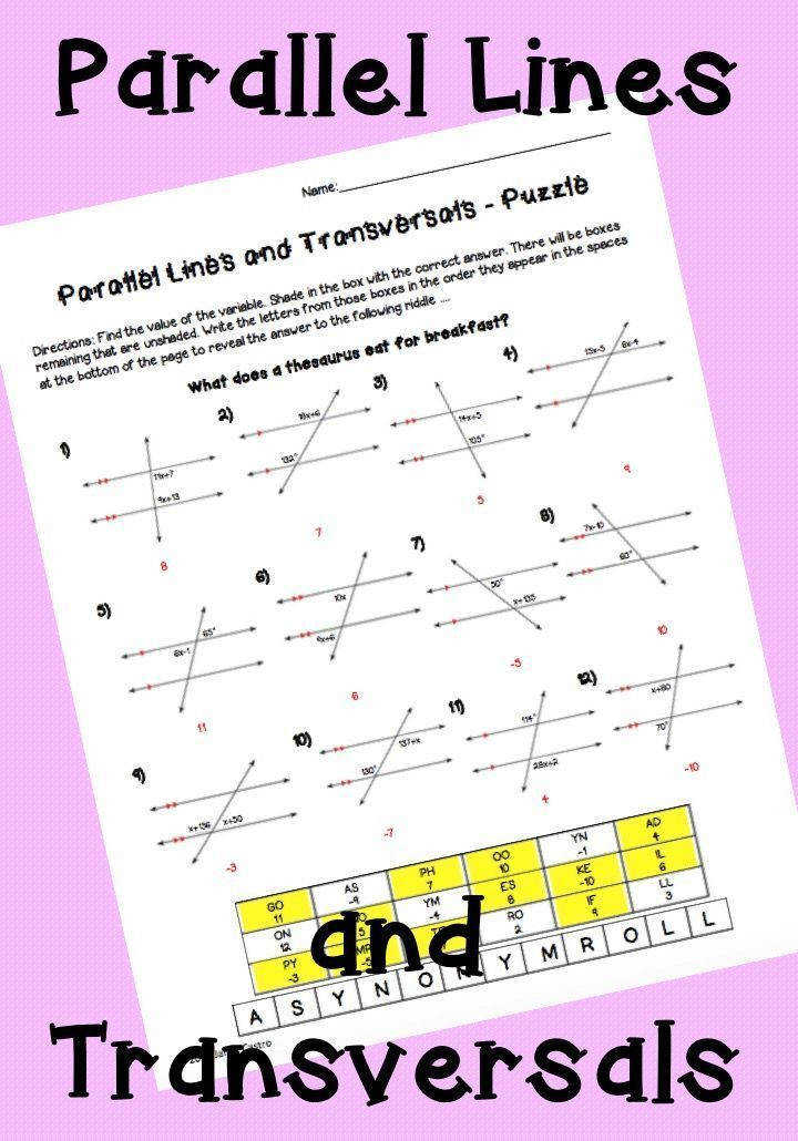 Parallel Lines and Transversals Puzzle Worksheet