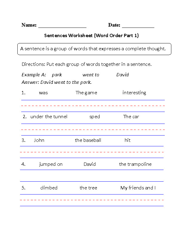 Word Order Simple Sentences Worksheet