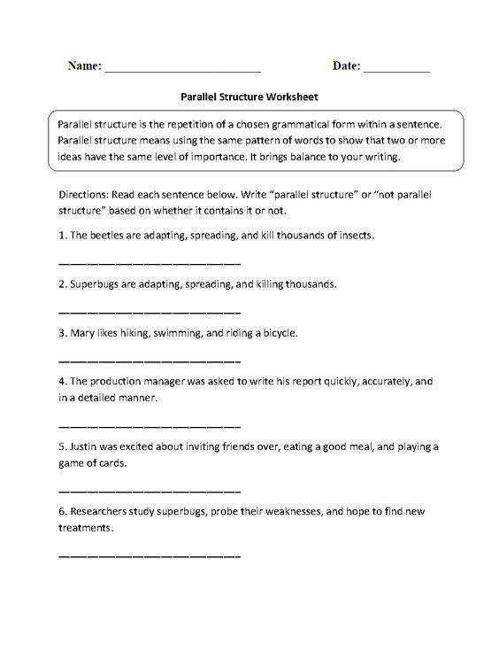 Identifying Parallel Structure Worksheets 1st week of school Pinterest