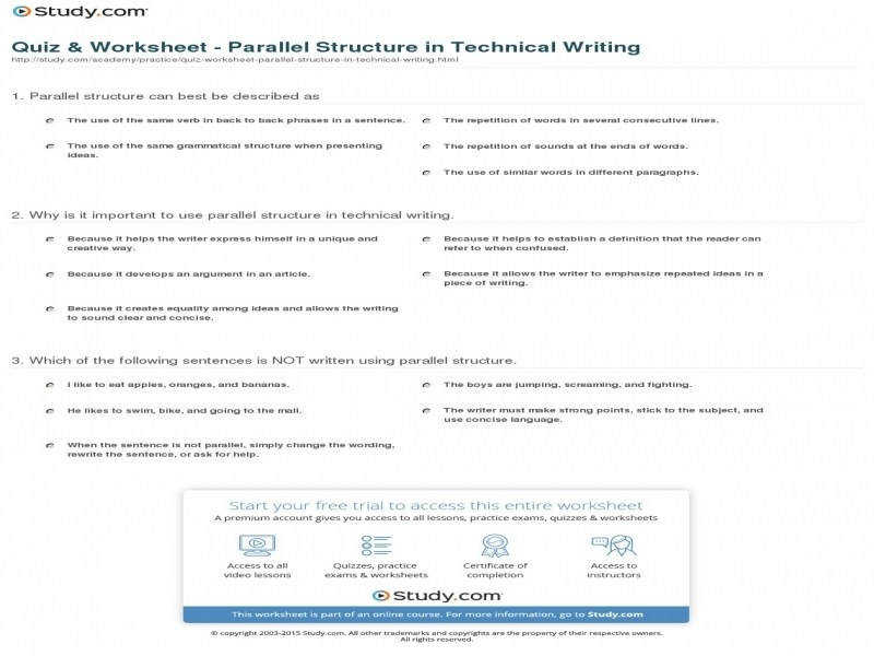 Quiz & Worksheet – Parallel Structure In Technical Writing