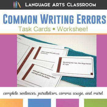 8th Grade Grammar and Writing Errors Task Cards