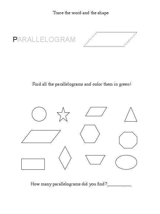 parallelogram shape worksheet