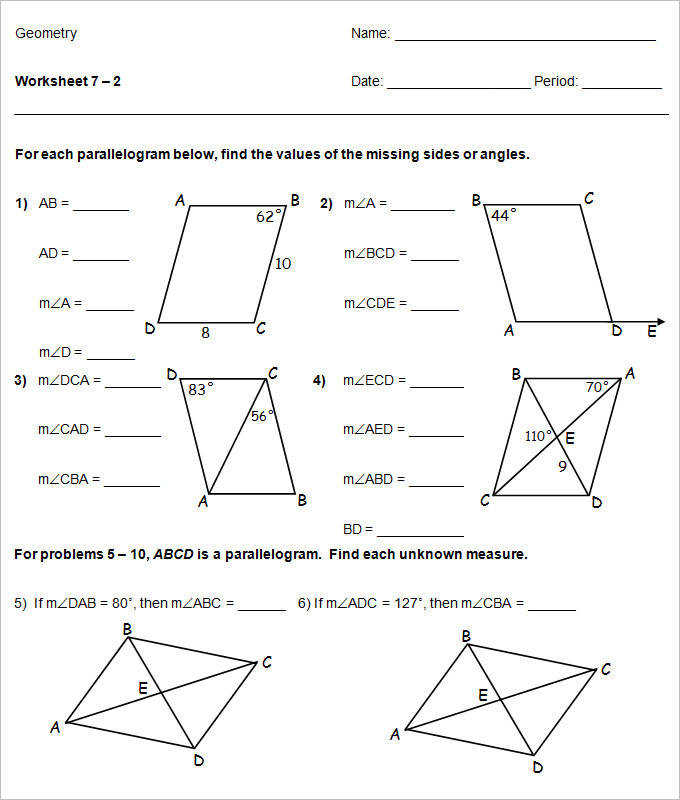 Parallelogram High School geometric Worksheet Template