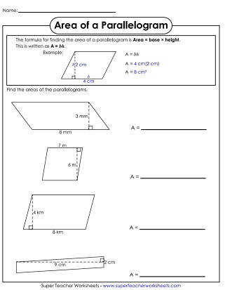 Area of Parallelograms Worksheet