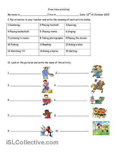 Paraphrasing Free Time Activities Worksheet Free Esl Printable Worksheets