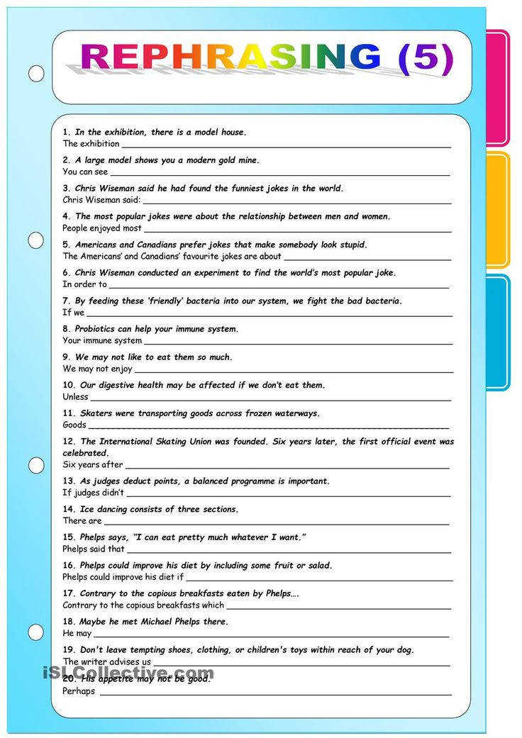 Rephrasing 6 Key included worksheet Free ESL printable worksheets made by teachers