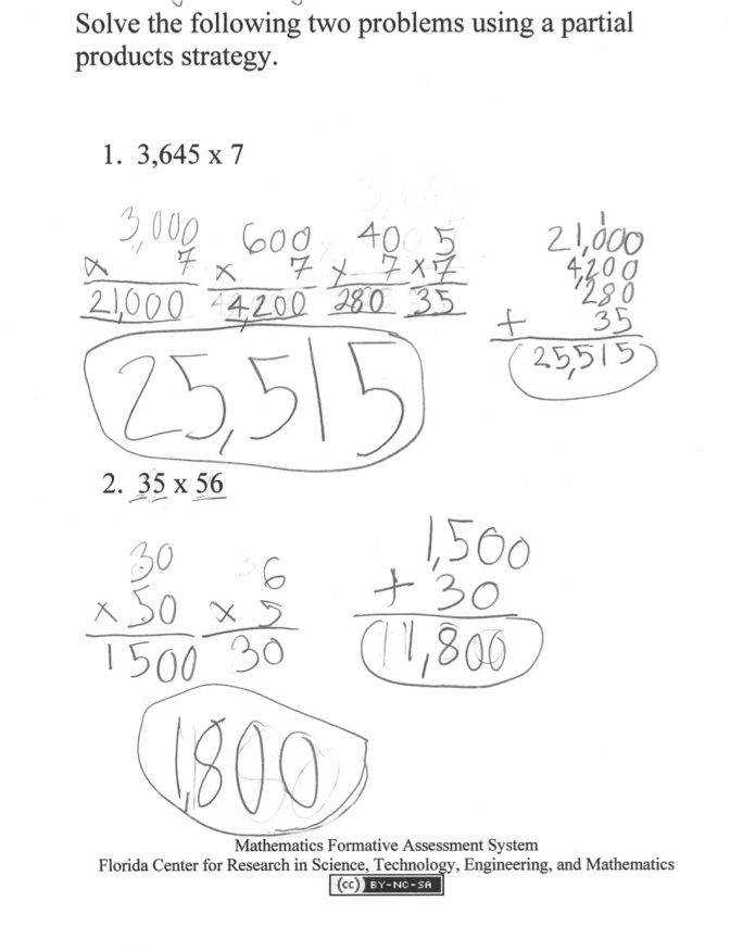 Partial Products Students Are Asked To Solve Two Multiplication Break Apart Worksheets 3rd Grade Mfas Partialproducts