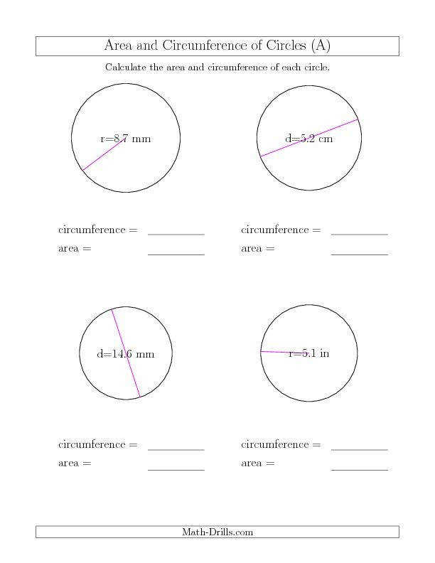 Circumference of a Circle worksheets