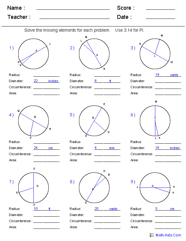 Circumference Area Radius and Diameter Worksheets