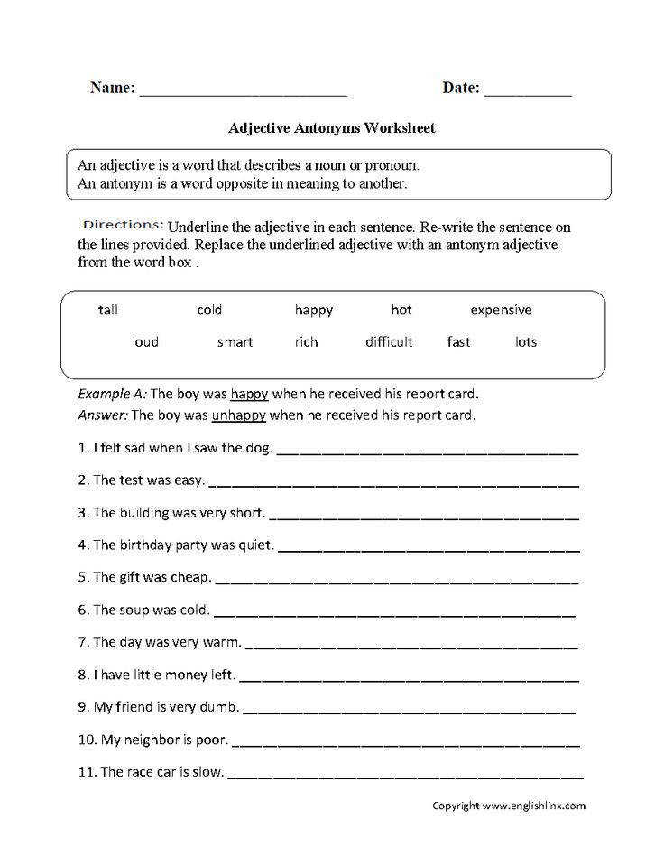 English Worksheets that cover the categories of Parts of Speech