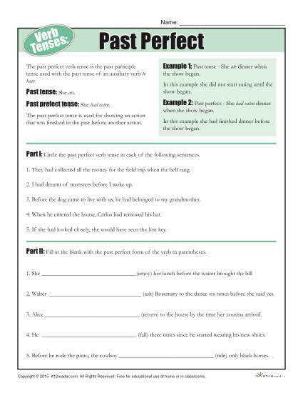 Verb Tense Worksheet Past Perfect