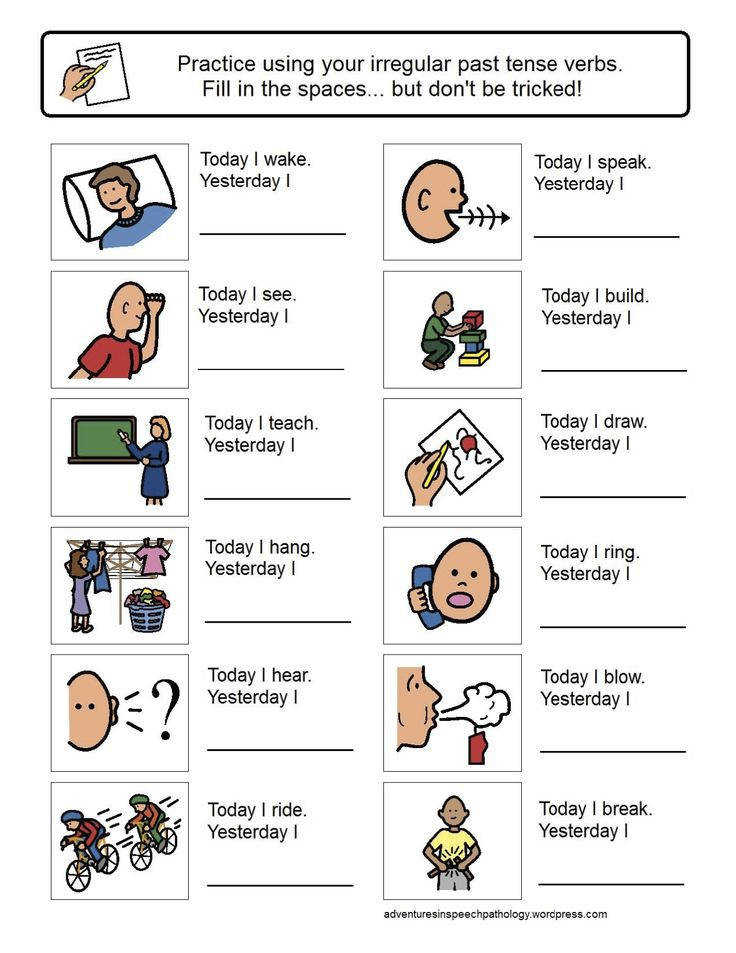Irregular Past Tense Verb Worksheets Adventures in Speech Pathology