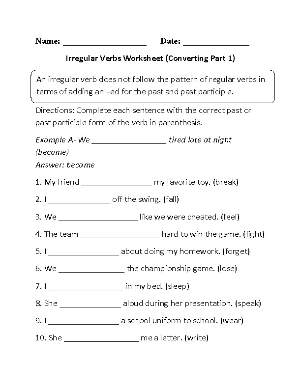 Irregular Past Tense Verbs I Knew It Worksheet