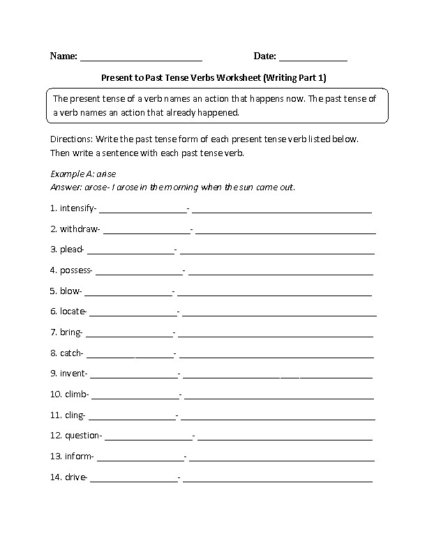 Present to Past Tense Verbs Practice Worksheet