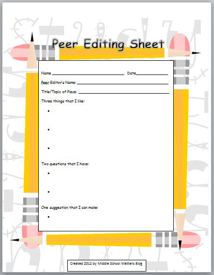 Peer Editing Worksheet Middle School