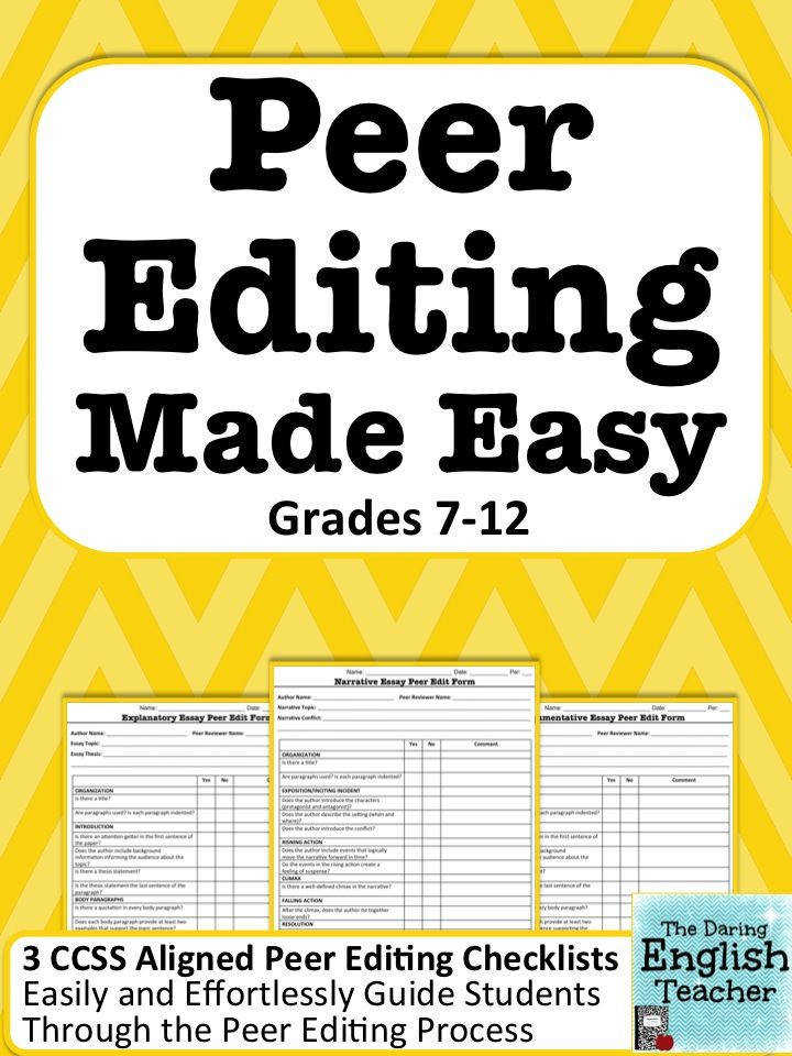 Guide your students through the peer editing process with these three peer editing worksheets one