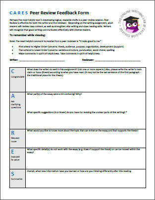 CARES Peer Review Feedback Form