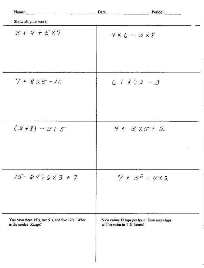 Mrs Mirabal 6th Grade Math Jefferson Middle School You Can Do Order Operations With Fractions