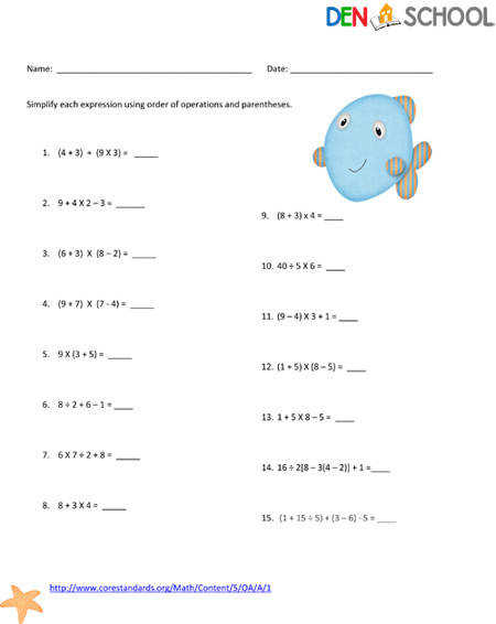 order of operations worksheet Order of Operations & free homeschooling