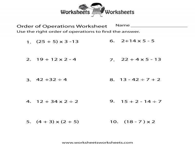 free order of operations worksheets with answer key