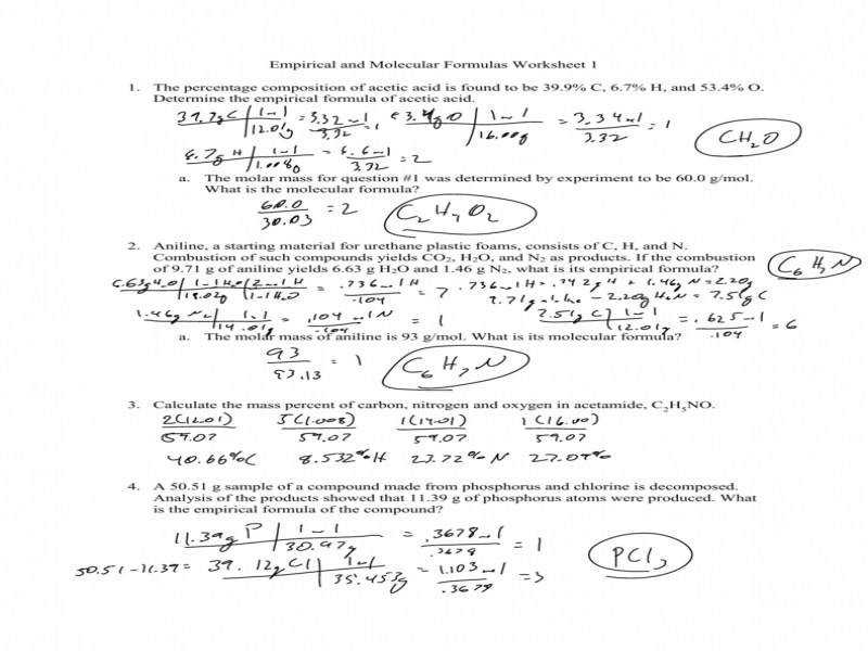 Empirical And Molecular Formulas Worksheet 1 1 The Percentage