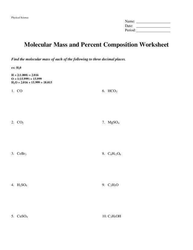 10 3 Percent position · Percent position and Molecular Formula Worksheet