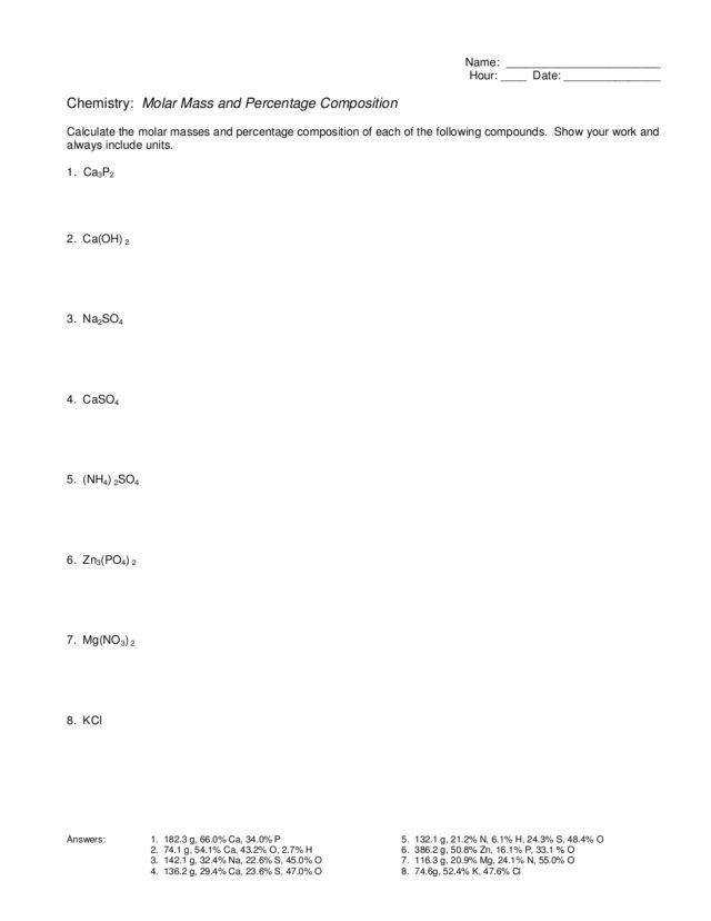 percent composition worksheet pre lab work