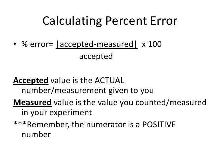 Calculating Percent Error % error= accepted measured x 100 accepted Accepted value